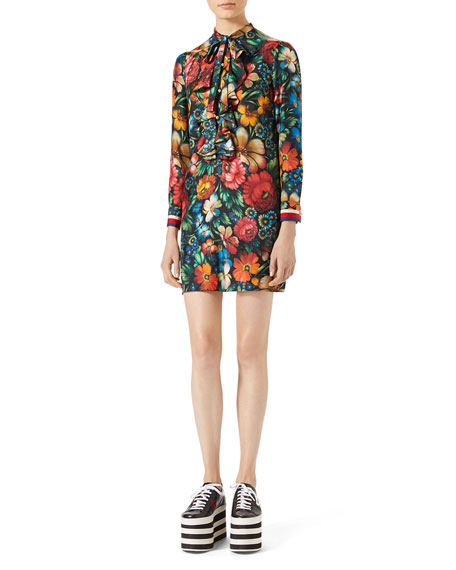 Gucci Floral-Print Silk Dress, Black