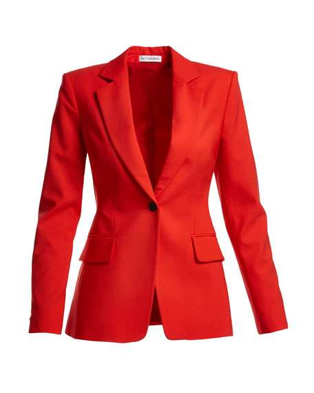 Bayard One-Button Fitted Blazer, Red