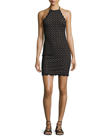 Marysia Mott Scalloped Lace Halter Minidress, Black