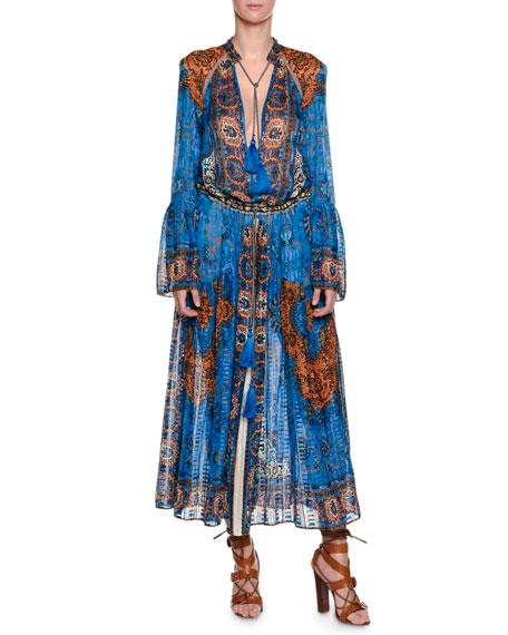 Etro Saffron Printed Caftan Dress, Blue