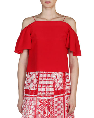 Flutter-Sleeve Cold-Shoulder Top, Poppy