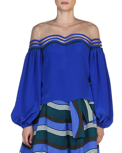 Illusion Wavy-Cutout Peasant-Sleeve Blouse, Cobalt