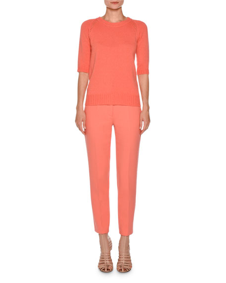 Cropped Flat-Front Trousers