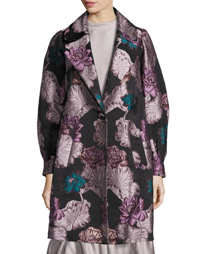One-Button Floral Brocade Topper, Multi