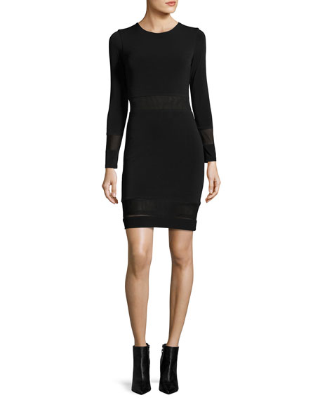 Alice + Olivia Madie Mesh-Panel Fitted Dress, Black