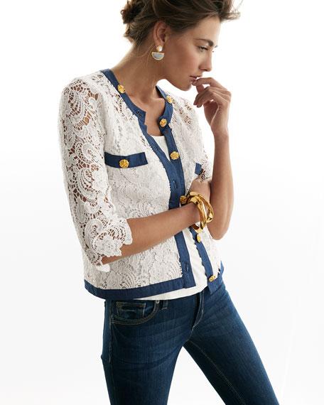 3/4-Sleeve Crochet Cardigan W/ Denim Trim