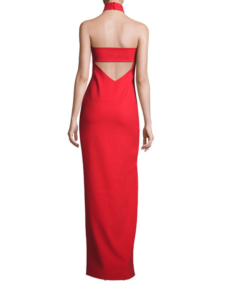 Nahlia High-Neck Gown, Venetian Red