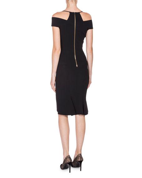 Off-the-Shoulder Pleated-Hem Dress, Navy