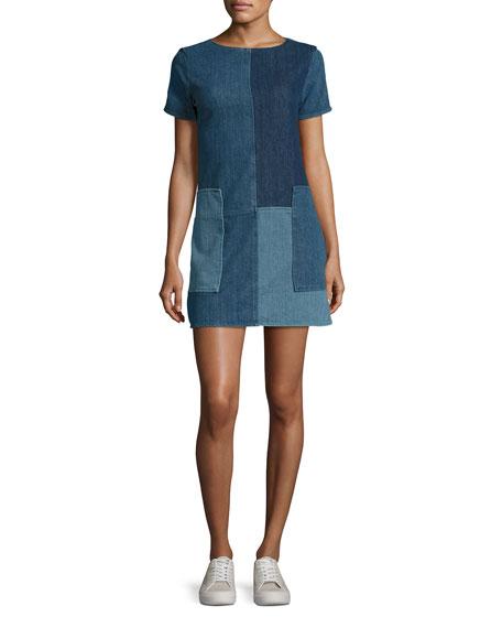 Luna Rosemary Patchwork Denim Shift Dress