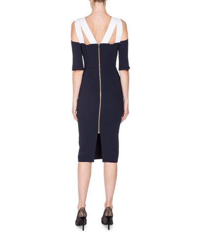 ROLAND MOURET Silks COLD-SHOULDER KEYHOLE SHEATH DRESS, NAVY