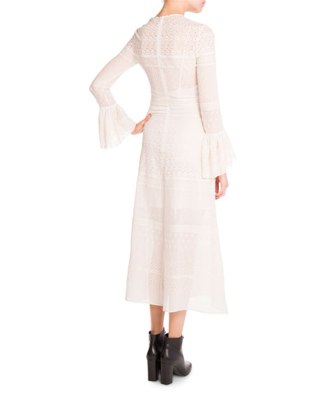 Bell-Sleeve Eyelet Midi Dress, White