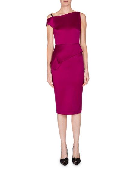 Asymmetric One-Shoulder Peplum Dress, Orchid Pin