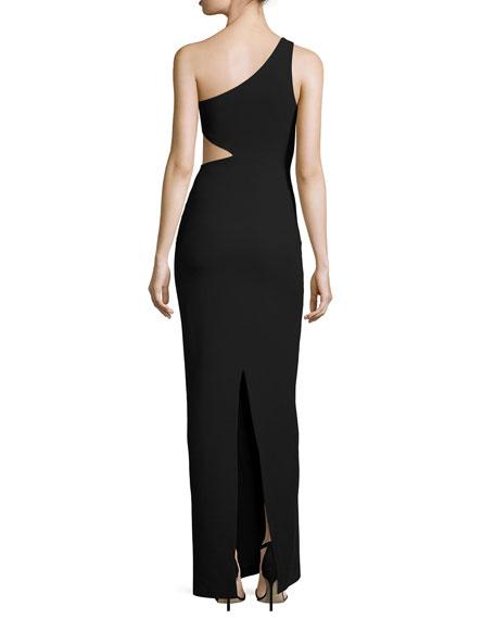 Leonella One-Shoulder Gown, Black