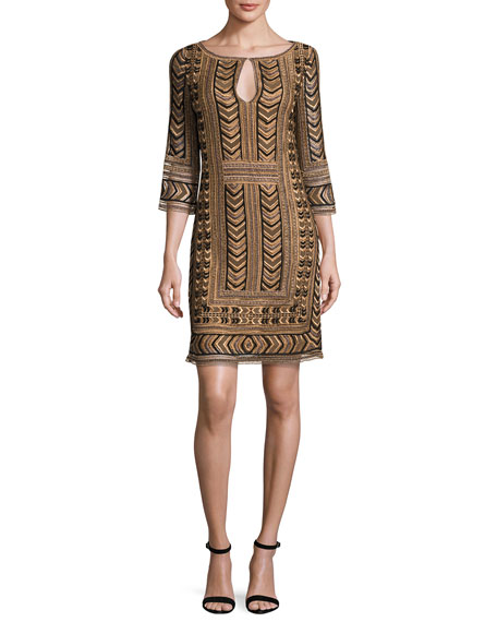 St. John Collection Priya Embroidered Keyhole Shift Dress,