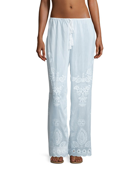 Seafolly Embroidered Cotton-Silk Coverup Pants, White