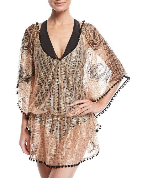 Queen & Pawn Phoenix Metallic Lace Caftan, Rose
