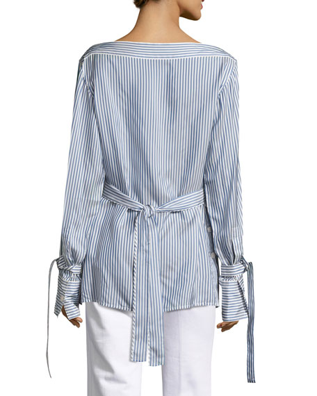 Keith Bis Striped Boat-Neck Blouse