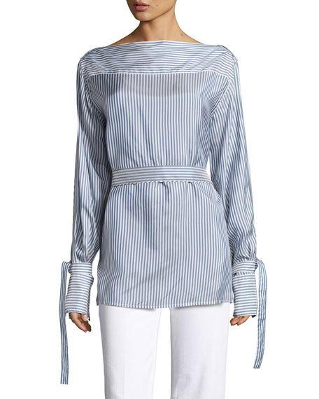 Calvin Klein Collection Keith Bis Striped Boat-Neck Blouse