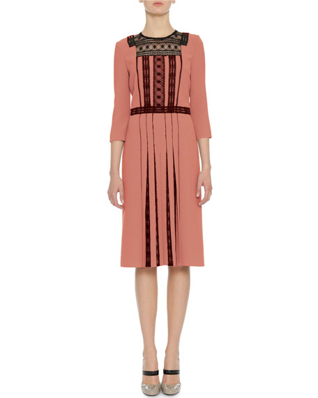 3/4-Sleeve Lace & Pleated Crepe Dress, Dusty Rose