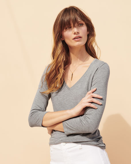 Soft Touch 3/4-Sleeve V-Neck Tee