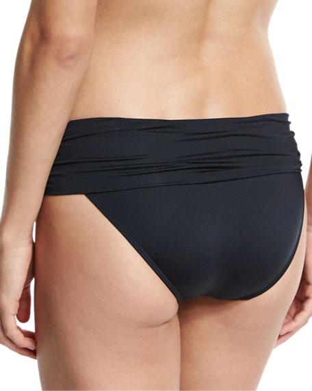 Solid Convertible Swim Bikini Bottom, Black