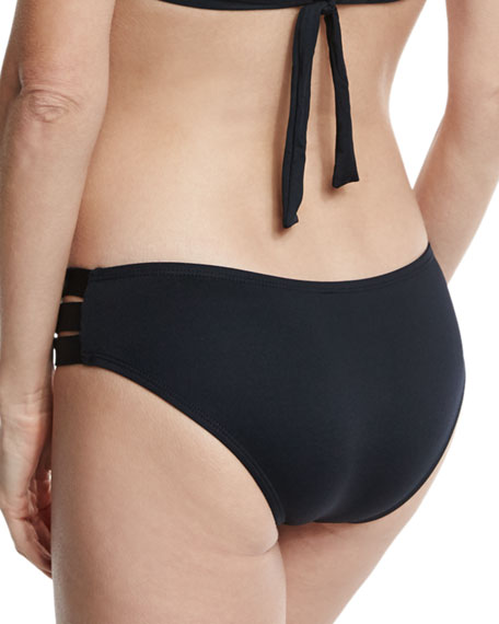 Emelia Solid Triple-Strap Swim Bottom, Black