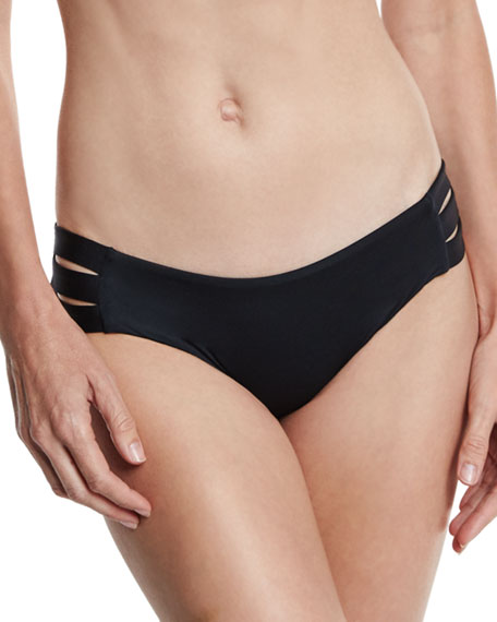 Emelia Solid Triple-Strap Swim Bottom, Black