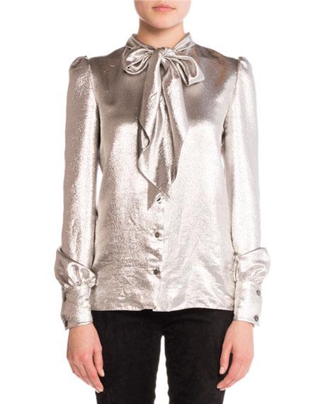 Tie-Neck Lamé Blouse, Silver
