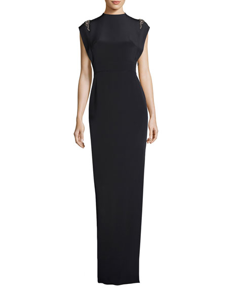 Cap-Sleeve Beaded Silk Satin Column Gown, Navy