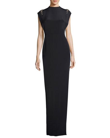 Theia Cap-Sleeve Beaded Silk Satin Column Gown, Navy
