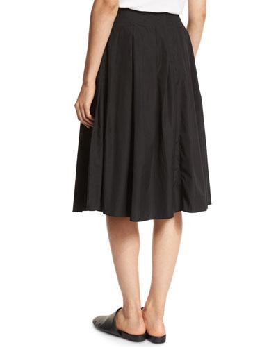 vince pleated cotton midi skirt