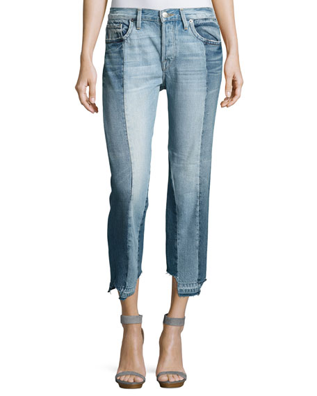 FRAME Nouveau Le Mix Two-Tone Boyfriend Jeans, Remix