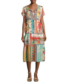 Johnny Was Power Scarf Printed Long Dress