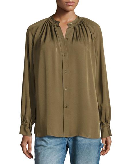 Shirred Handstitch Silk Blouse