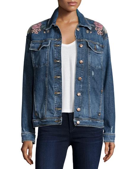 The Bella Embroidered Denim Jacket, Kaya Cheap