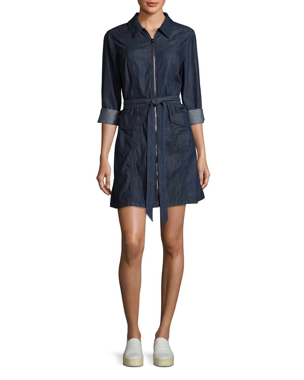 f5c2c100ea 7 for all mankind Zip-Front Belted Denim Dress