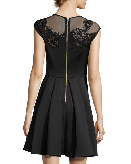 Dollii Embroidered Skater Dress, Black