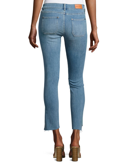 Paris Stagger-Hem Skinny Jeans, Medium Blue