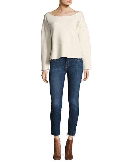 MOTHER The Looker Ankle Fray Girl-Crush Denim Jeans, Blue