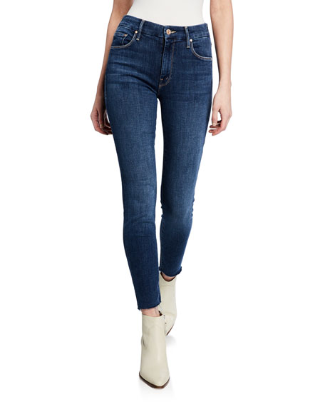 Image 1 of 4: MOTHER The Looker Ankle Fray Girl-Crush Denim Jeans