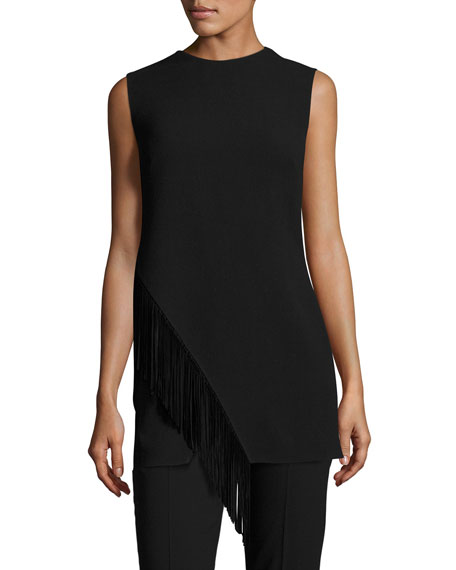 Ralph Lauren Collection Wool Tunic with Suede Fringe,
