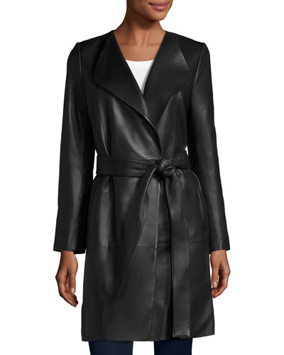 Belted Leather Wrap Coat, Black