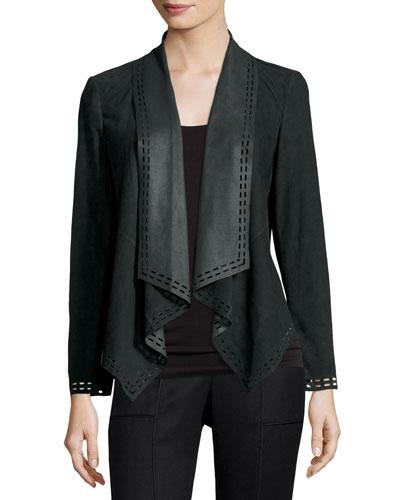 Draped Suede Jacket w/ Laser-Cut Border, Olive