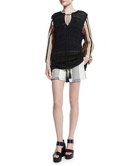 Striped Canvas Drawstring Shorts, Black/Natural
