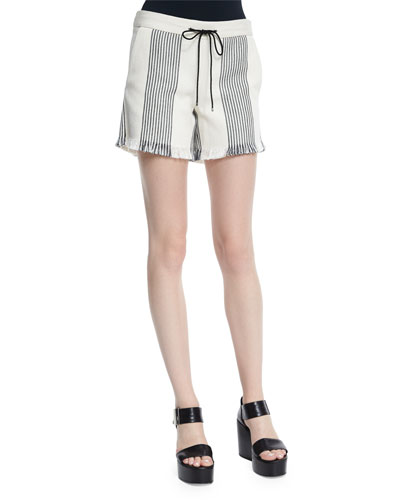 Striped Canvas Drawstring Shorts, Black/Natural