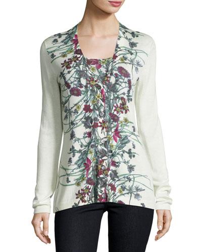 Superfine Floral-Print Cashmere Cardigan