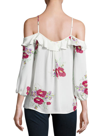 Birtha Floral-Print Cold-Shoulder Top, White