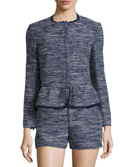 Milligan Tweed Zip-Front Jacket, Blue