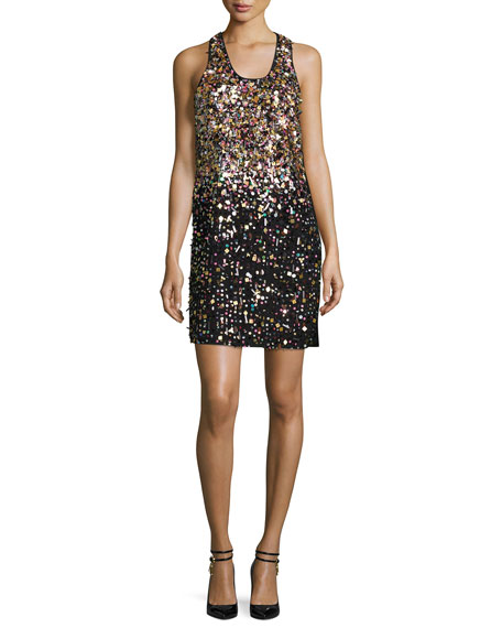 Embellished Mini Tank Dress, Black