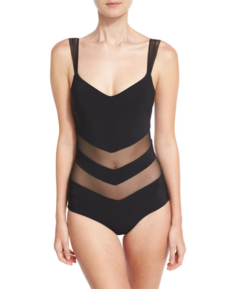 Ione Illusion Mesh-Inset One-Piece Swimsuit, Black